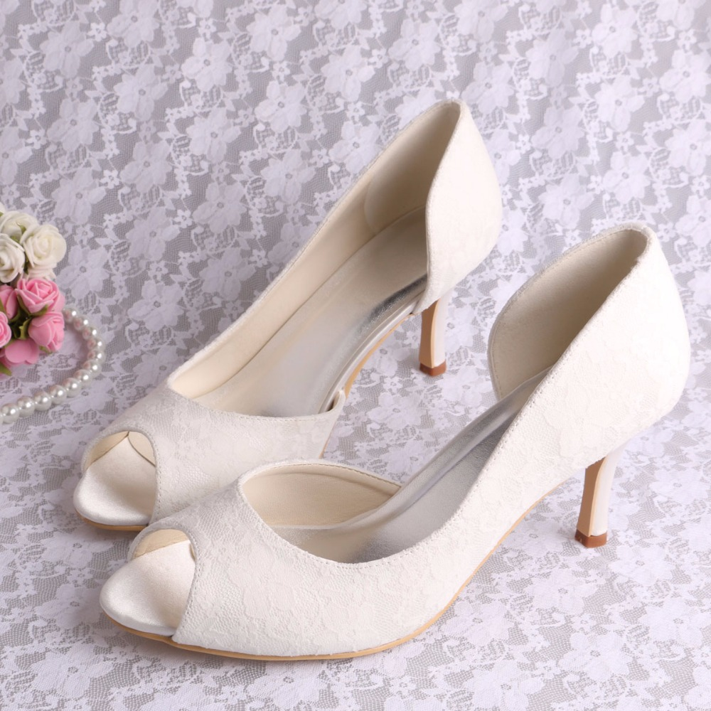 5f454d68ced4e Custom to Make Brand Women Wedding Shoes Cream Lace Open Toe Extra Size 10