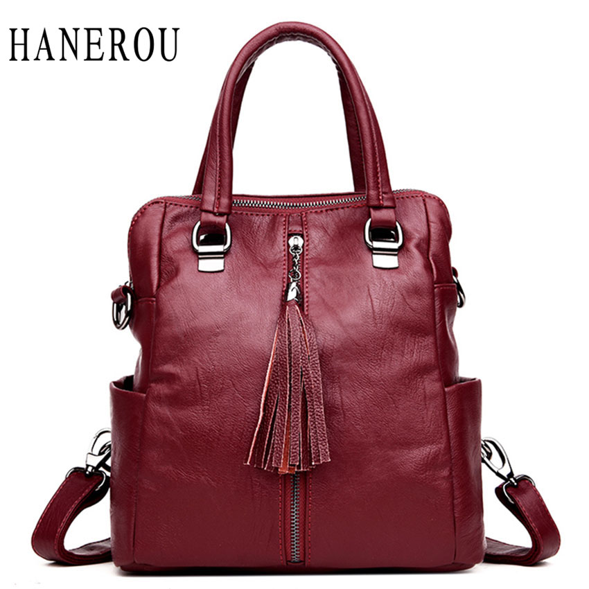 Fashion Tassel Female Backpack Women Bag High Quality Leather Backpack Casual Large Capacity Shoulder Bags Ladies New Sac A Dos joypessie lady top handle bags backpack women famous brands female casual shoulder bag tote for ladies large capacity backpack