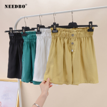 NEEDBO Summer Shorts For Women Sexy Casual Short Femme Hot Bud Ladies High Waist Elastic Elegant Plus Size