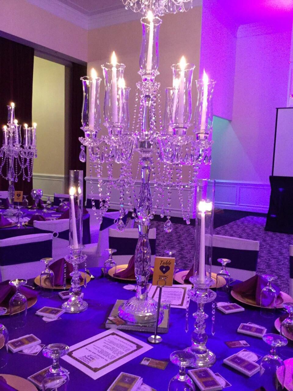 Candélabre en cristal en gros 7 bras avec décoration de faveur de mariage de tasse