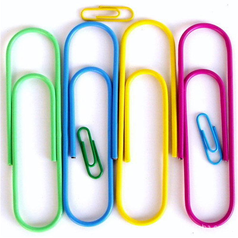 MIX Color Paper Clips Student Stationery Large Metal Clip CUTE Office Accessories BOOKMARK 12Pcs/lot 100MM