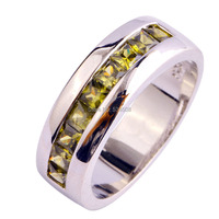 New Fashion Cocktail Party Jewelry Rings Olive Green Peridot Multi-Stone 925 Silver Ring Size 7 8 9 10 Wholesale Free Shipping
