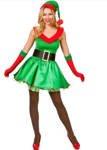 Lovely Green Christmas Dress Sexy Dancing Party Show sleeveless XMAS Costumes For Lady Free Size