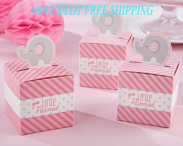 Us 29 99 100pcs Lot Baby Gift Box Of Little Peanut Elephant Wedding Favor Box For Baby Birthday Party Favor Candy Box Decoration Gift In Gift Bags