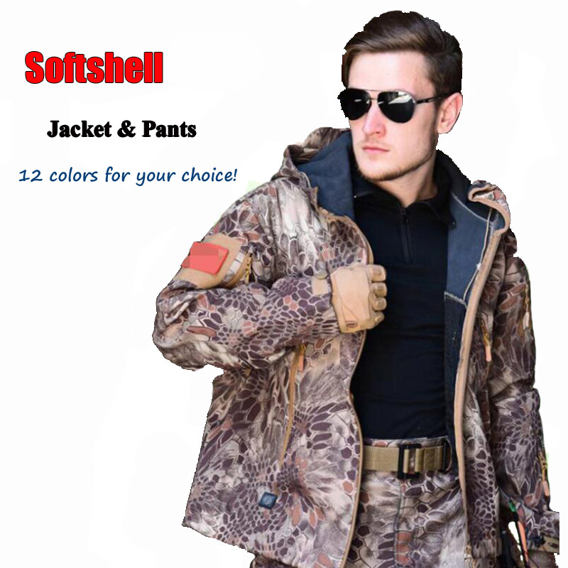 TAD Tactical Softshell Suits Hunting Men Jacket And Pants Military Army Suits Outdoor Waterproof Hiking Camping