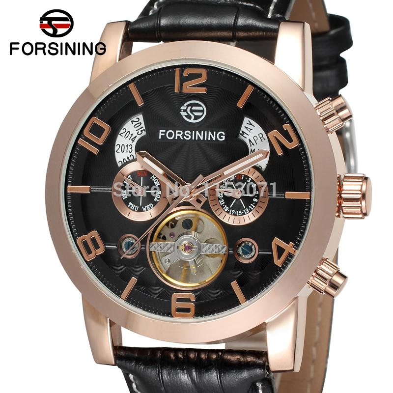 FSG165M3G2  Free shipping! new arrival men Automatic business luxury watch with black genuine leather strap gift box whole sale ultra luxury 2 3 5 modes german motor watch winder white color wooden black pu leater inside automatic watch winder