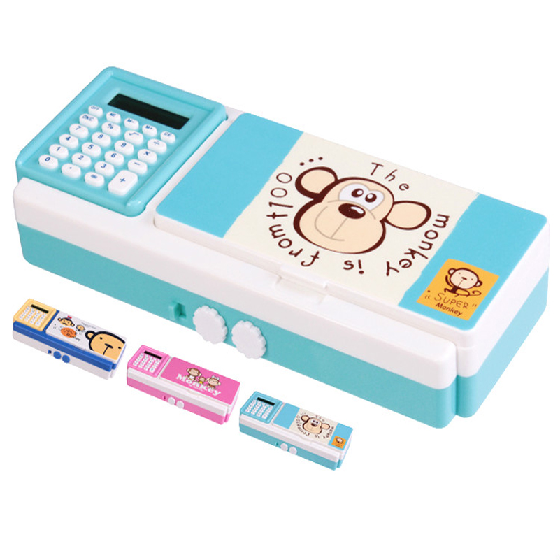 Multi-function cartoon ABS plastic pencil case cute password lock pencil box bag with calculator escolar papelaria penalty etui cute multi function 3 layer pencil case with lock button plastic students stationery pencil box bag school penalty chancery etui