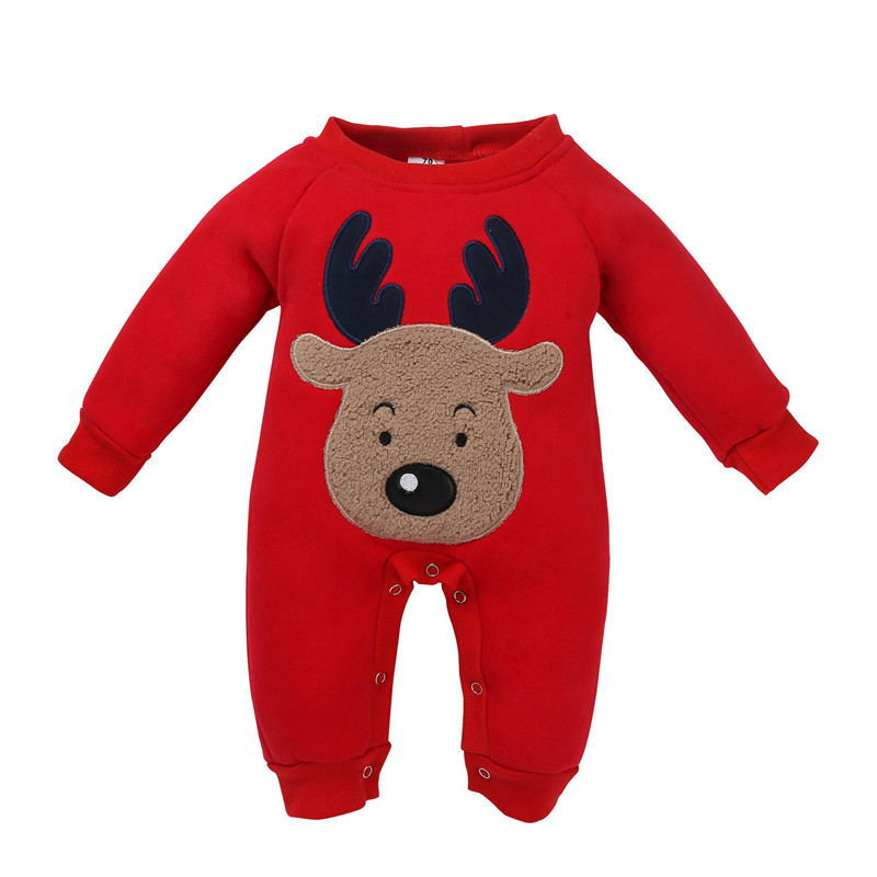 Newborn Clothes 2018 Infant Baby Christmas Romper Autumn Winter Long Sleeve Cotton Cartoon Elk Romper