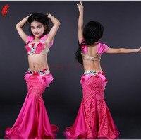 Детская одежда для выступлений для девочек роскошный бюстгальтер Топ и кружевная юбка 2 шт. танец живота костюм для девочек танец живота шоу
