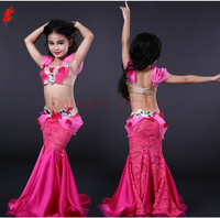 Kids Performance clothes girls luxury bra top and lace skirt 2pcs belly dance suit for girls belly dancing show suits S M L