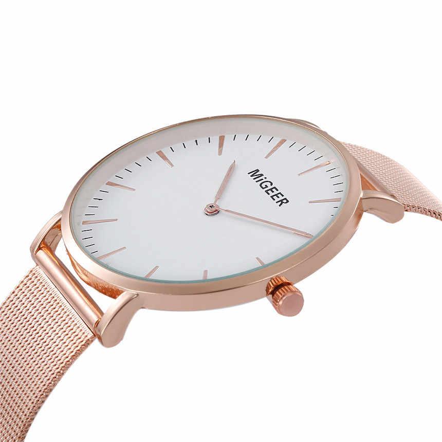 MIGEER ผู้หญิงสร้อยข้อมือนาฬิกาสุภาพสตรีสแตนเลสสตีลนาฬิกาข้อมือควอตซ์หญิงนาฬิกา Relogio Feminino # E