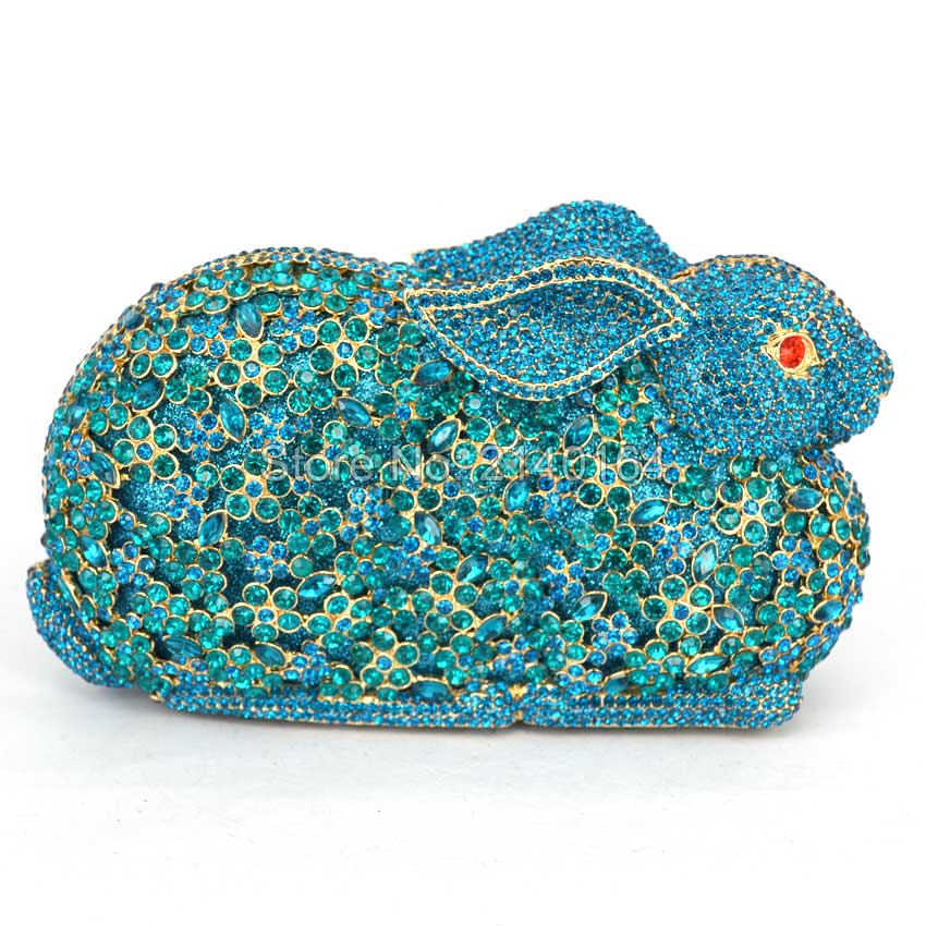 Fine upscale 3D shaped rabbit Mix Crystals blue Bunny clutch - cocktail party handbag evening hollow out Evening Purse Bag Q25 rosemary wells bunny party