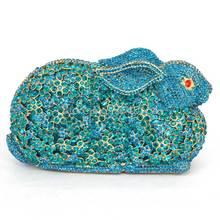 Feinen gehobenen 3D geformt kaninchen Mix Kristallen blau Bunny kupplung-cocktail party handtasche abend aushöhlen Abend Handtasche Tasche Q25