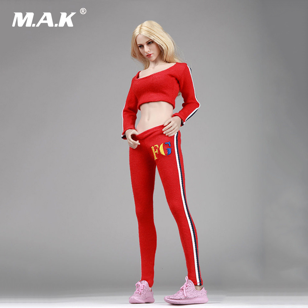 1/6 Scale Womens Running Sports Tops Pants and Shoes for 12 Inches Figures Bodies Dolls Red Black Grey Accessories new sexy vs045 1 6 black and white striped sweather stockings shoes clothing set for 12 female bodys dolls
