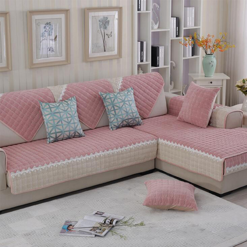 Winter Living Room Decorating: Simple Warm Velvet Polyester Sofa Covers Pink Lace