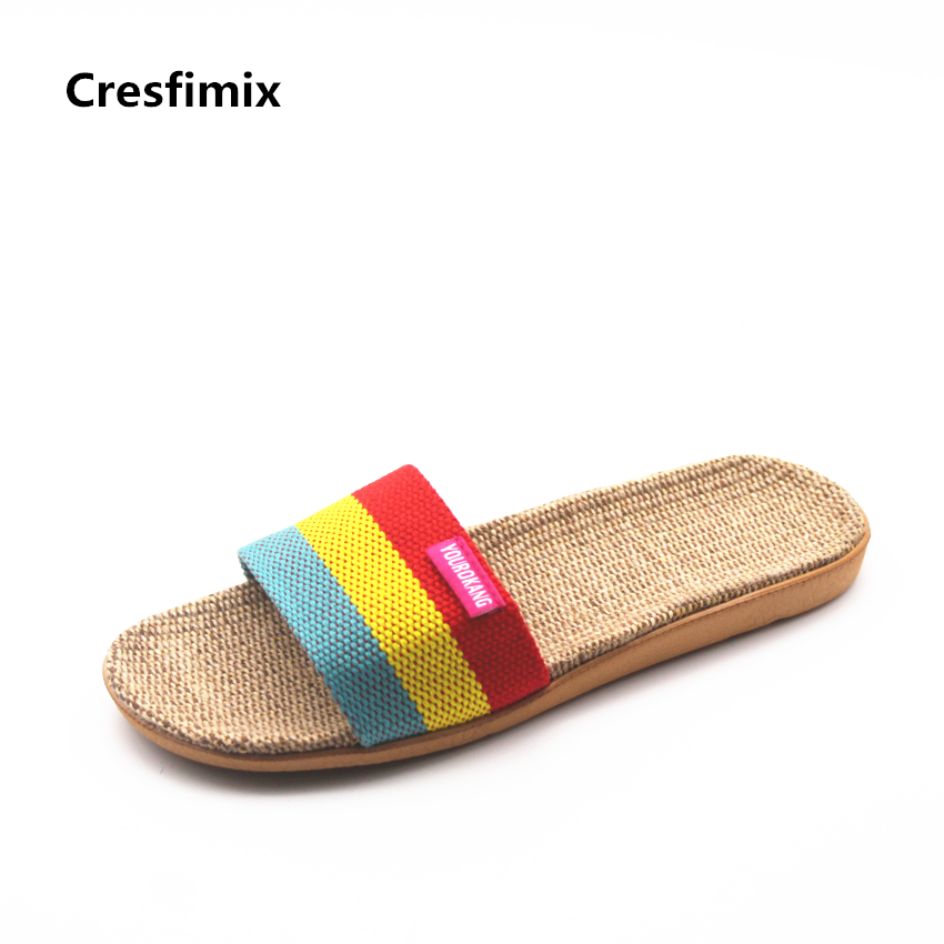 Cresfimix women fashion high quality light weight slippers lady cute comfortable summer slip on slides female soft slippers