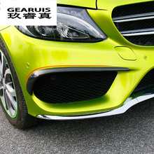 Car styling fog lamps grille slats auto fog lights covers Stickers decoration strips for Mercedes Benz C Class W205 Accessories