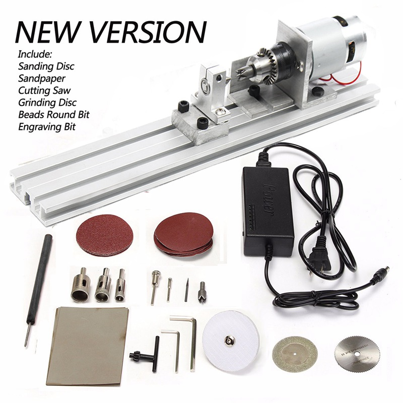 24 V 80 W Mini Tornio Perline Macchina Lucidatrice Table Saw Mini DIY Legno Tornio Kit Utensile Rotante Accessori24 V 80 W Mini Tornio Perline Macchina Lucidatrice Table Saw Mini DIY Legno Tornio Kit Utensile Rotante Accessori