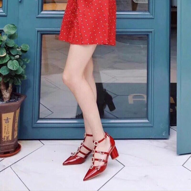 Sandales Verni Cuir Picture as En Chaussures Sangle Talons T Picture Boucle As Robe Épais Spartiates Anneau Décor Matal D'été Bout Pointu Pompes Femmes wpR8qqI0