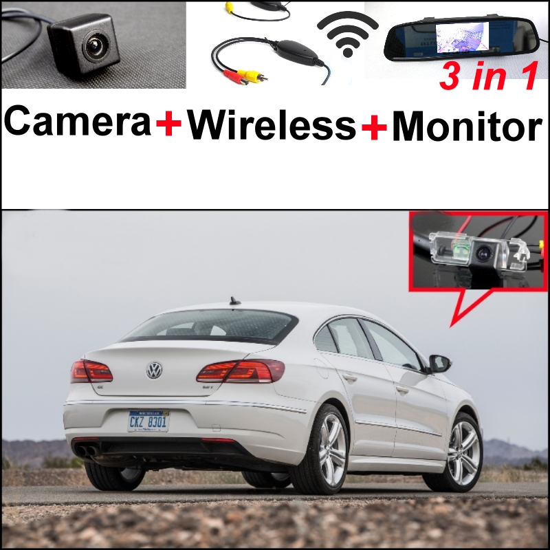 3 in1 Special Rear View Camera + Wireless Receiver + Mirror Monitor Easy DIY Back Up Parking System For VW Volkswagen Passat CC wireless receiver mirror monitor diy back up parking system for toyota sportsvan 3 in1 special rear view camera