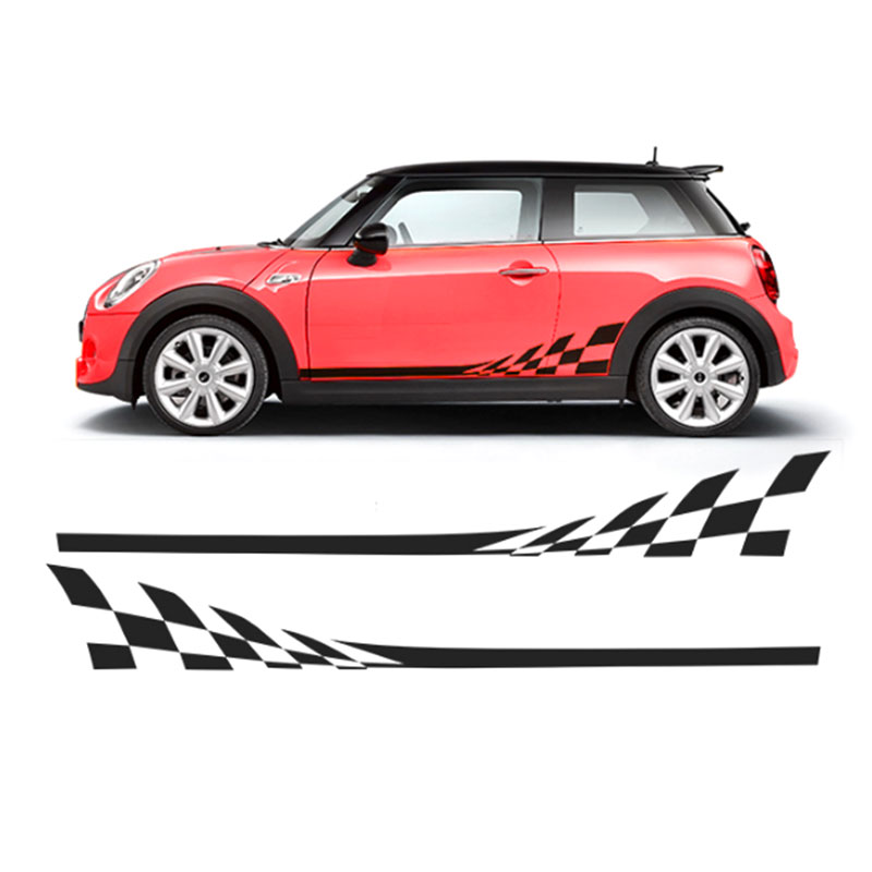 2x автомобиль Стайлинг сторона гоночная юбка в полоску Ограниченная серия наклейки для MINI Cooper R50 R52 R53 R56 R57 R58 R59 F55 F56 F54 - Название цвета: Синий