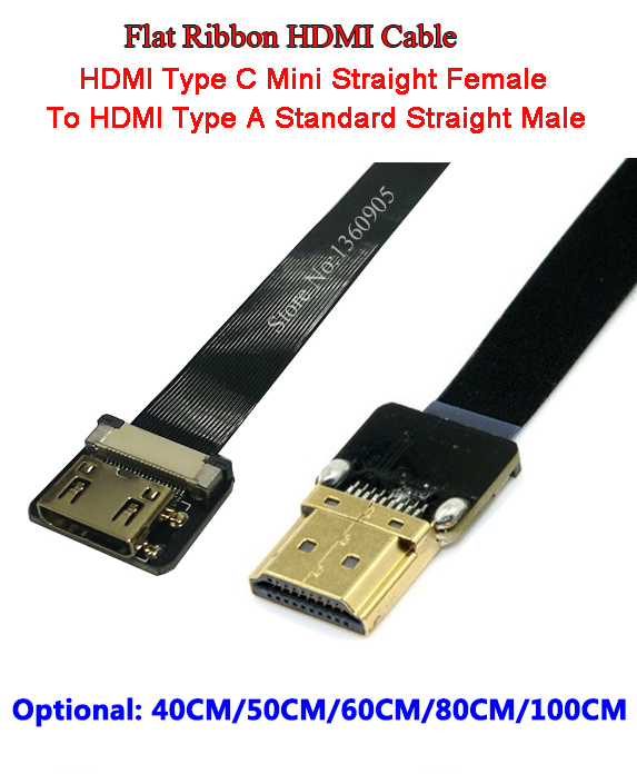 40/50/60/80/100CM Thin Ultra HDMI Cable Mini Female To A Male HDMI Standard Straight Flat Cable HDMI Ribbon Super Soft Cable FPV