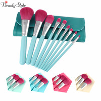 Colors Fashion 9Pcs Makeup Brushes Pincel Cosmetics Tools Eyeshadow Eye Face Makeup Brush Set Blush Soft