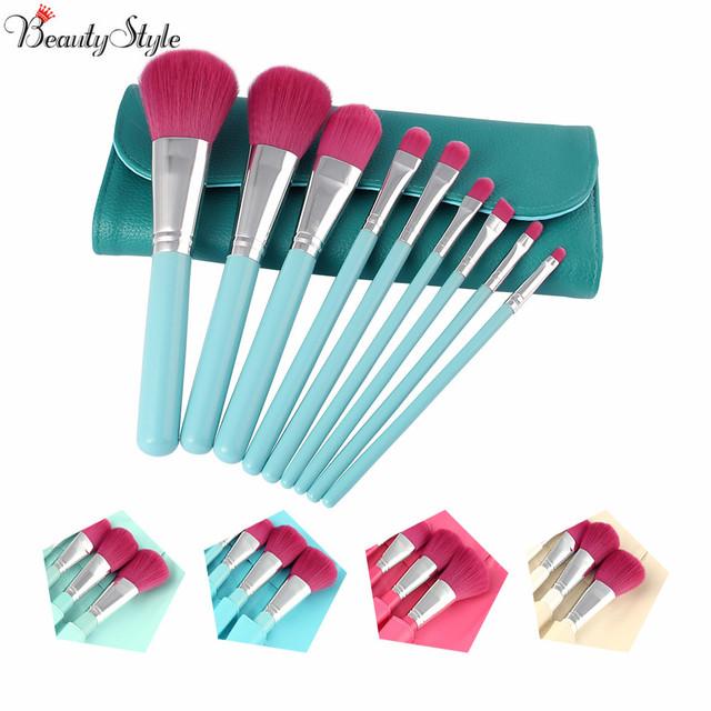 Cores da moda 9 Pcs pincéis de maquiagem Pincel cosméticos ferramentas Eyeshadow olho e rosto maquiagem escova Blush Soft Brushes Kit com saco