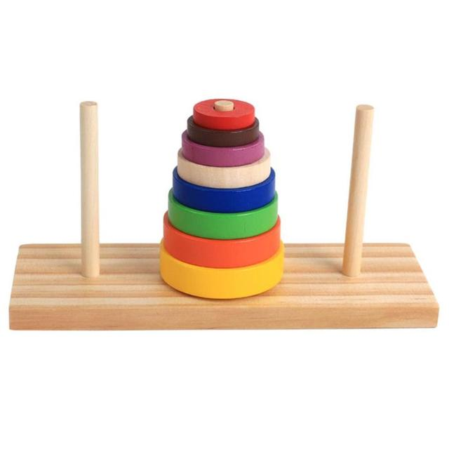 Wooden Puzzle Stacking Tower Of Hanoi Kid Mathematical Educational Toys Early Education Alpinia Parent-child Interaction Toy
