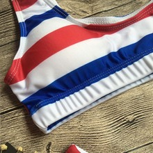 Free Shipping Flag Striped Bikini Set Brazilian Push Up Female High Waist Bathing Suit
