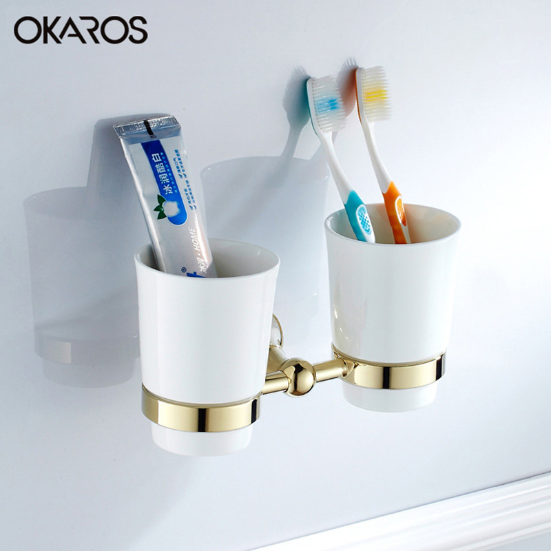 OKAROS Wall Mounted Bathroom Double Ceramic Cup Holder Toothbrush Tumbler Holder Chrome/Gold Plating Bathroom  Accessories stainless steel double tumbler toothbrush holder cup bracket set wall mounted