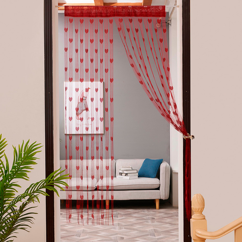 Valance Curtains Window-Door-Divider Heart-String Cortina Living-Room Love For 50x200cm/100x200cm