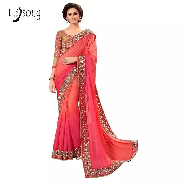 Modest 2017 Indian Saree Red Long Mermaid Evening Dresses One ...