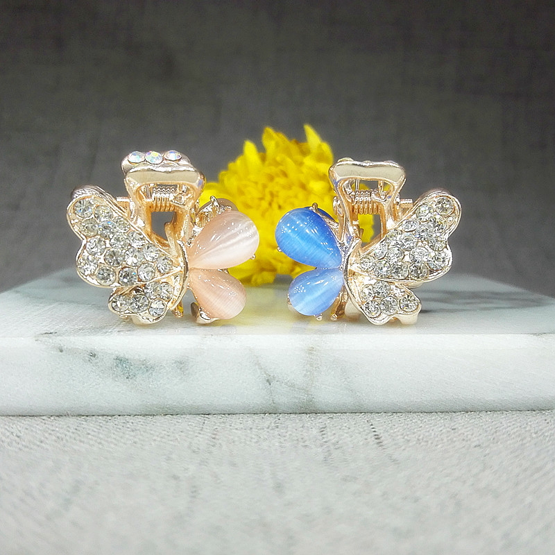 2.8-3CM Lyxiga opaler Kristallstrass fjäril Hårklo Klipp Hårnålar - Kläder tillbehör