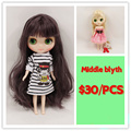 Free shipping Middle Blyth doll purple  golden 20 cm high nude doll with normal body middle doll