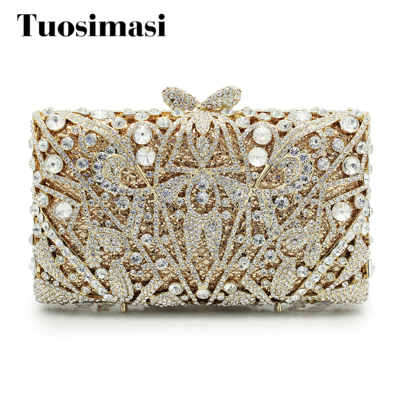 2017 Luxury Gold Diamond Evening Bag Rhinestone Clutch Bag Women Small Banquet Hand Bag Wedding Bride Clutch Purse(88199A-PG)
