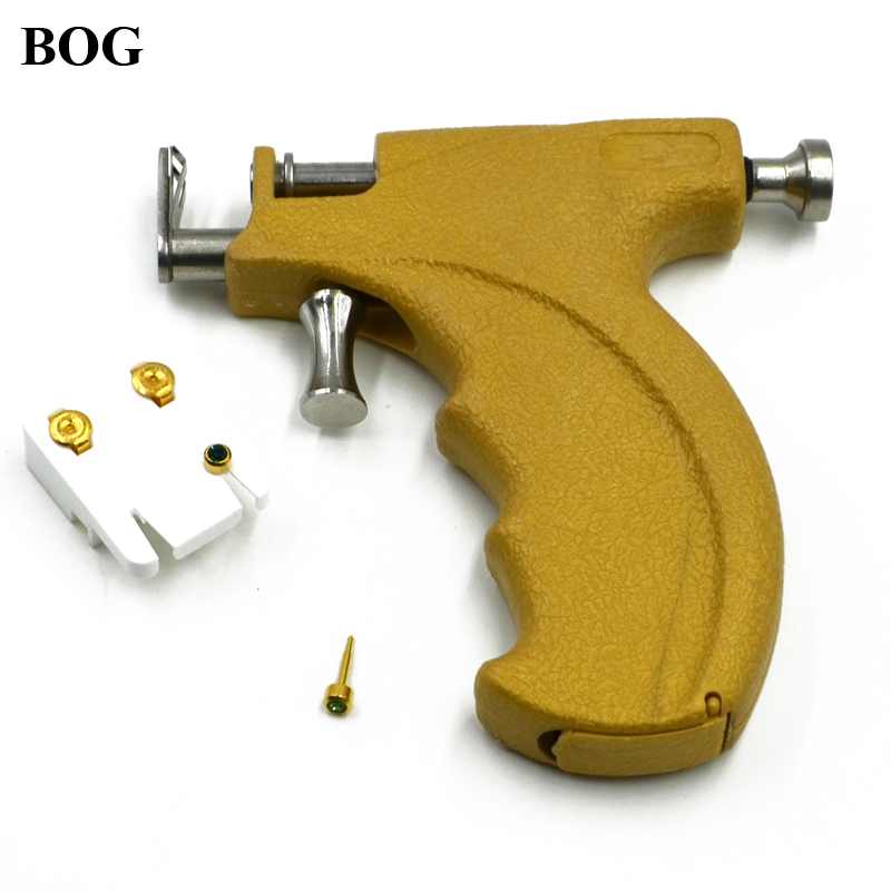 BOG- Professional No Pain Stainless Steel Safe Sterile Ear Nose Navel Body Piercing Gun Ear Stud Earring Piercing Gun Tools Set stainless steel ear lip navel nose tongue septum sponge forceps clamp body piercing pliers tool