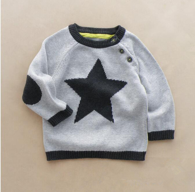 Y037 Retail 2016 New Baby Boy Sweater Dobby Stars Covered Button Toddler Boy Pullover Casual Kids Sweatercoat Full Sleeve