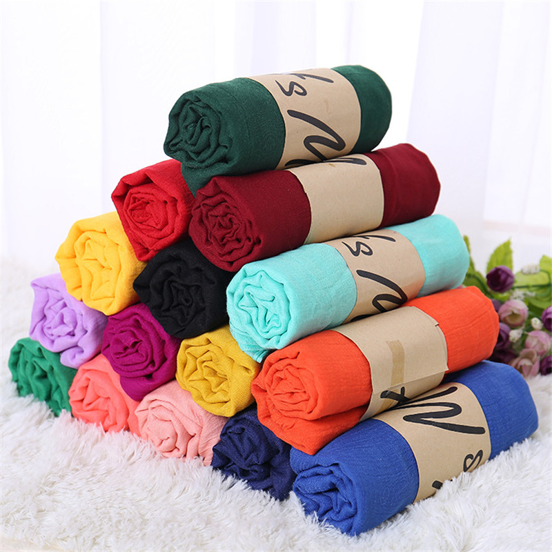 TieSet Linen Scarves Solid Color Cape Shawl Ultra Luxury Brand Muslim Hijab Muffler Scarf Candy Color Womens Scarves 60x180cm(China)