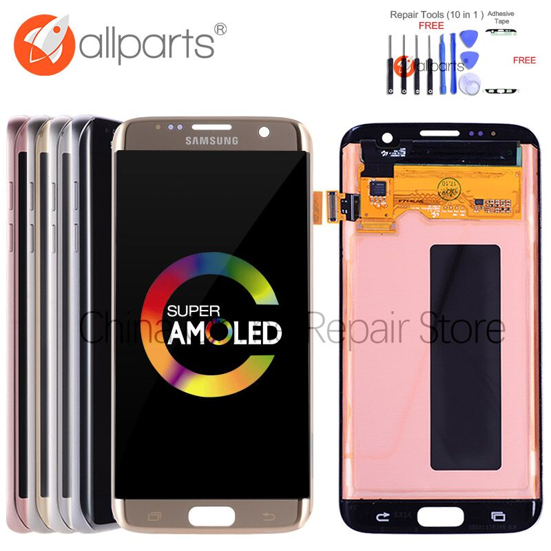 5,5 ORIGINAL AMOLED S7 rand Display Für SAMSUNG Galaxy S7 Rand Screen Display Touch mit Rahmen Für SASMSUNG S7 Rand LCD G935F