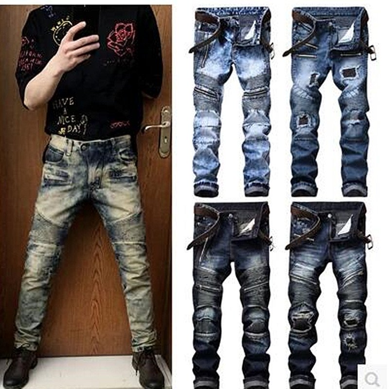 Men Jeans Brand Frayed Destroyed Slim Retro Cowboy Motorcycle Slacks Snowflake Spot Coating Pure Cotton Pants For Large Size