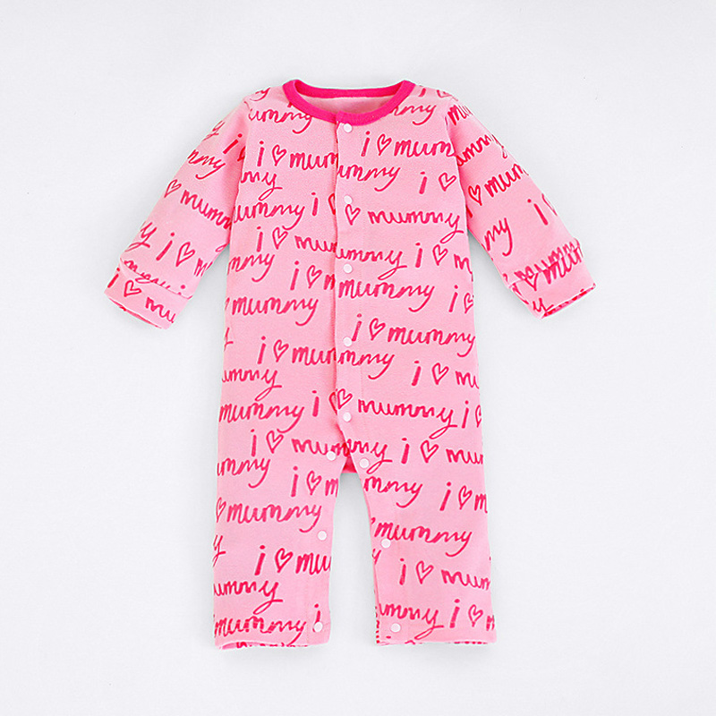 valentine gift cotton long sleeve baby onesie clothing print i love mommy jumpsuit romper