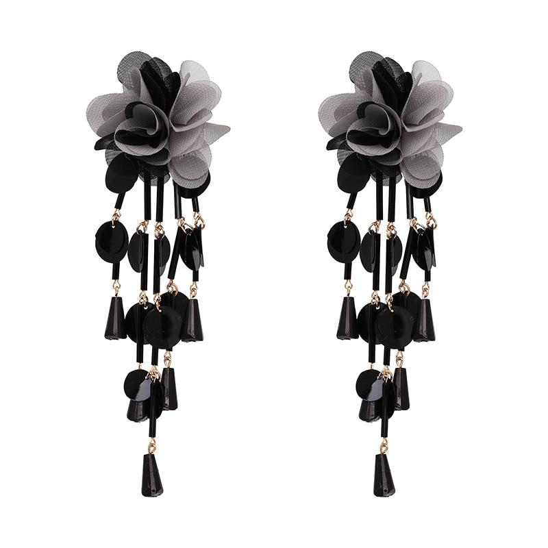JUJIA Bohemian Long Flower Earrings Pom Pom Big Statement Earrings Fringe Drop Earrings Women Jewelry 25