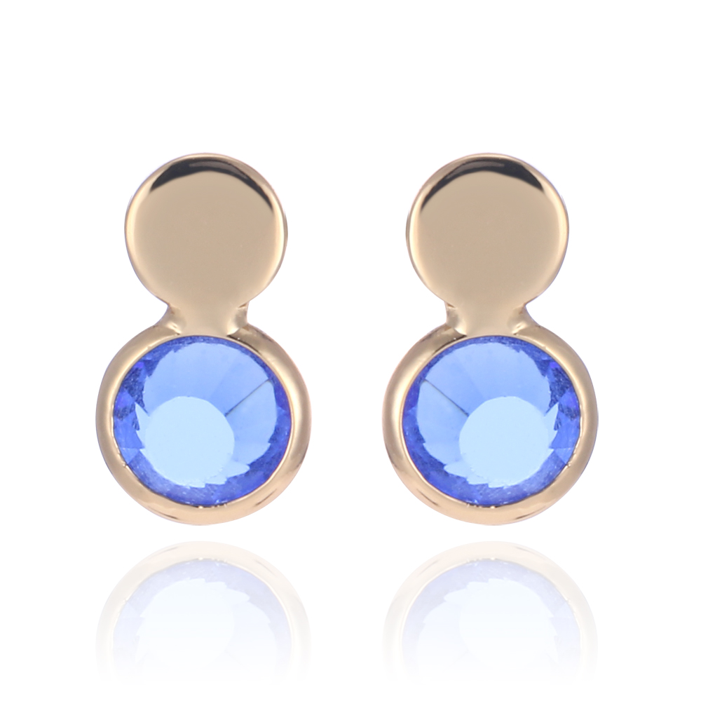3umeter Glass Birthstone Stud Earrings 12 Month Birthstone Earing For Women  Trendy Round Disc Tiny Brincos Pendientes Mujer Moda