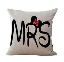 Creative Cotton Linen Cartoon Couple Mr & Mrs Mickey Mouse Mr Right Throw Pillow Case Home Textile