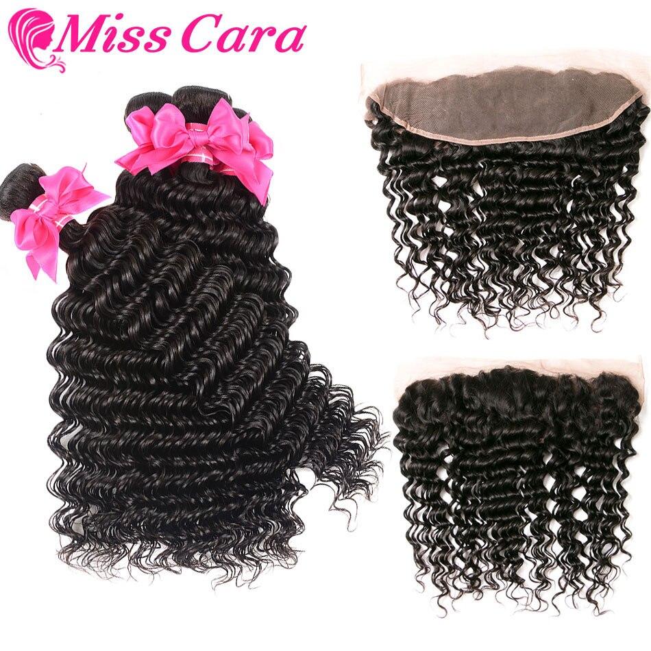 Brazilian Deep Wave 3 4 Bundles with 13 4 Frontal 100 Human Hair Bundles with Frontal