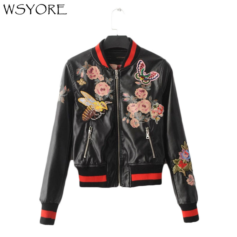 WSYORE Fashion European Style Embroidery Bee Butterfly PU   Leather   Biker Jacket Autumn and Winter Slim Printed Coat Women NS316