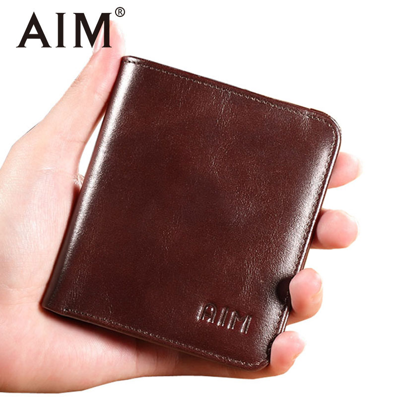 AIM Mens Small Wallet 100% Genuine Leather Men Purse Male Compact Slim Short Wallets For Men Cowhide Card Holder Carteira Walet aim mens small wallet 100% genuine leather men purse male compact slim short wallets for men cowhide card holder carteira a292