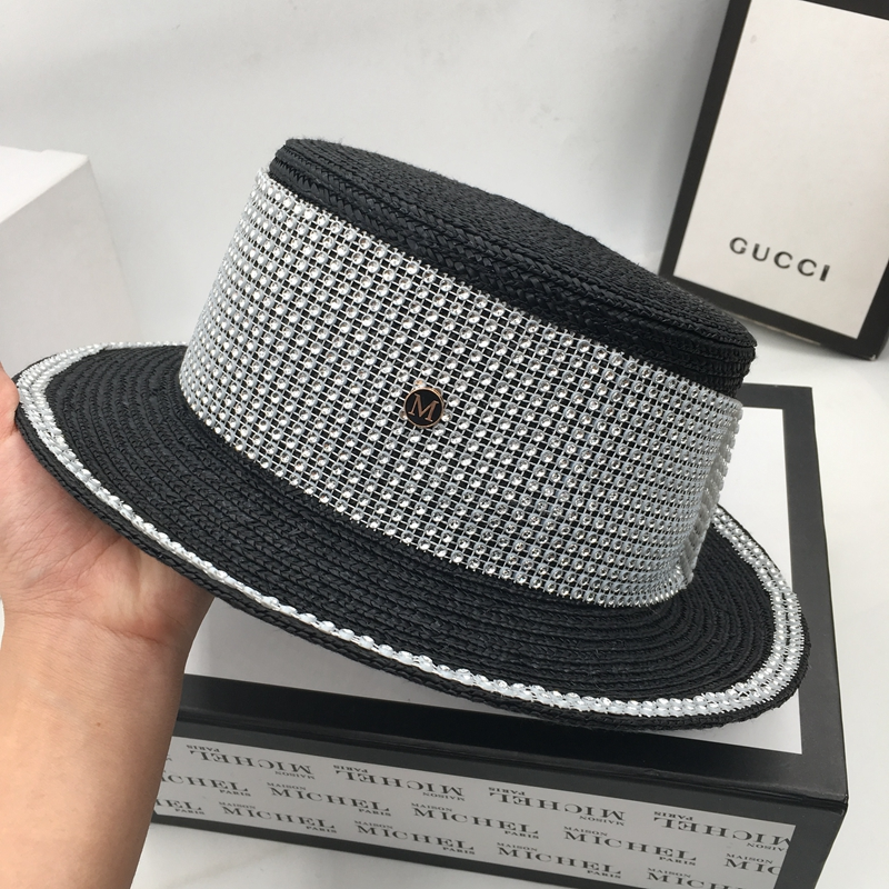 Straw woven straw hat fashion rhinestone flat top small hat travel beach hat visor sun hat