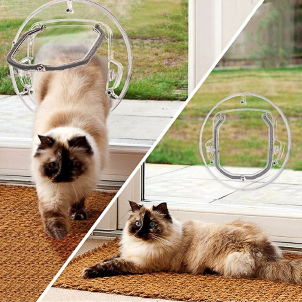 Innovative Newest Pet Supplies Glass Door Opening for Cats Dogs Gates Door Lockable Safe Flap Door Pet Products 2018 Newest